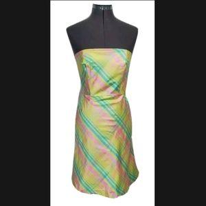 Lilly Pulitzer Sienna Plaid Silk Dress Sz 0